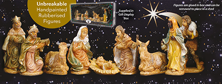 4 inch - 9 Figure Rubberised Nativity Set.