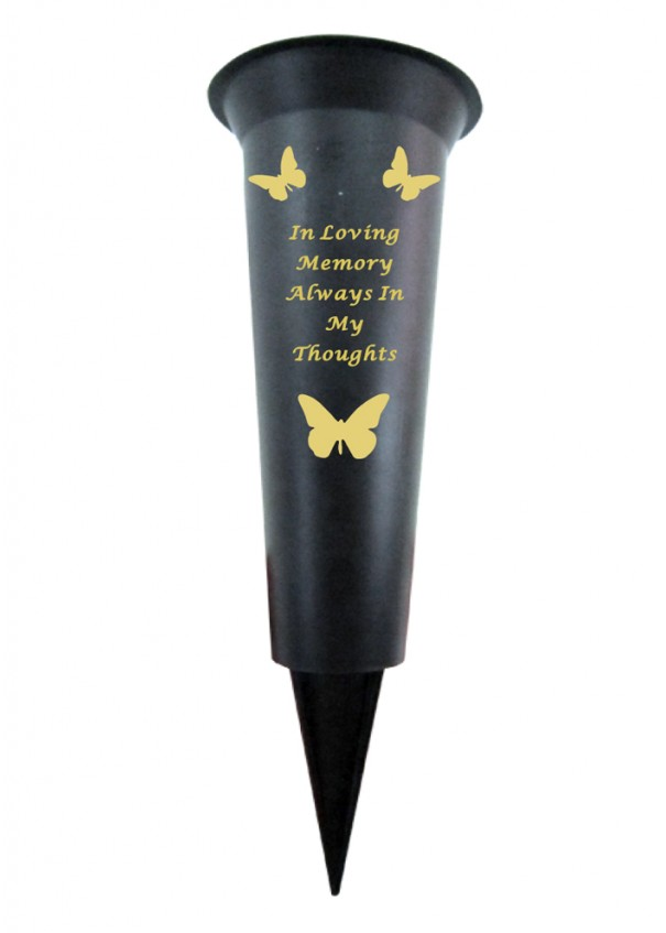 Always in My Thoughts plastic spike memorial vase with Butterfly Decoration