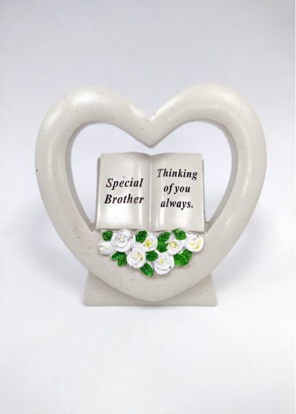 Brother Book in Heart with White Roses