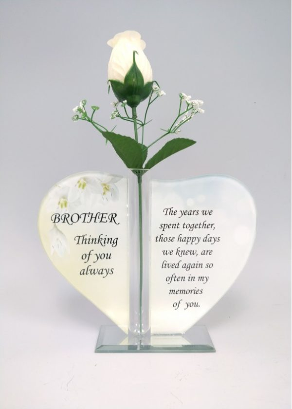 Brother Glass Heart Plaque with Single Silk Rose 1