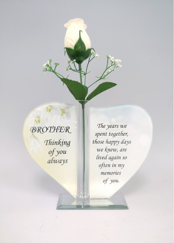 Brother Glass Heart Plaque with Single Silk Rose