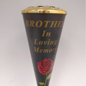 Brother Red Rose Design Cone Vase with Gold Lid