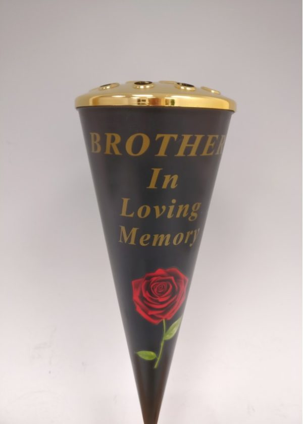 Brother Red Rose Design Cone Vase with Gold Lid  1