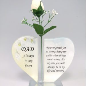 Dad Glass Heart Plaque with Single Silk Rose