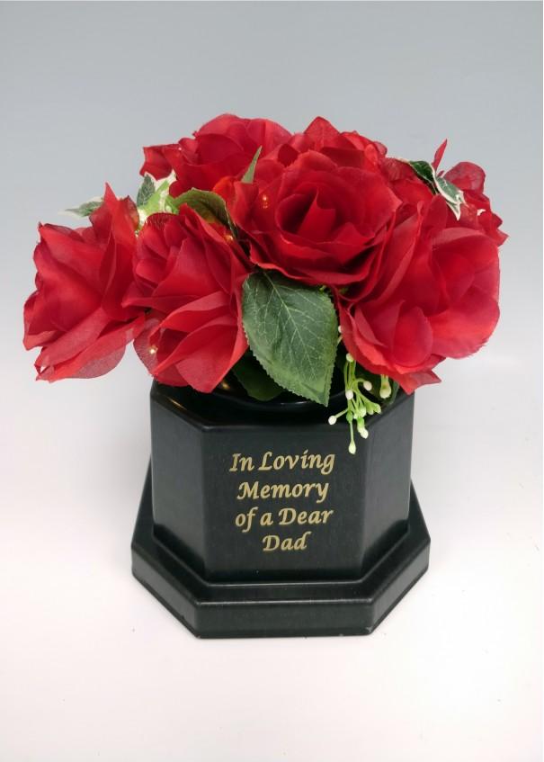 Dad Light Up with Silk Red Rose Grave Vase. 18 LED lights. Waterproof timer.
