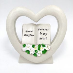 Daughter Book in Heart with White Roses.