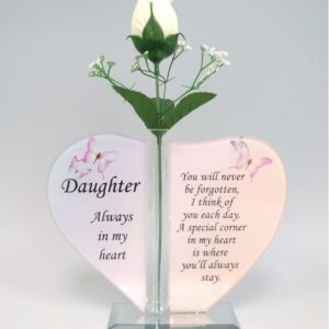 Daughter Glass Heart Plaque with Single Silk Rose