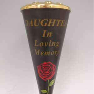 Daughter Red Rose Design Cone Vase with Gold Lid