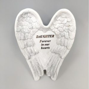 Daughter White and Silver Angel Wings Stone.