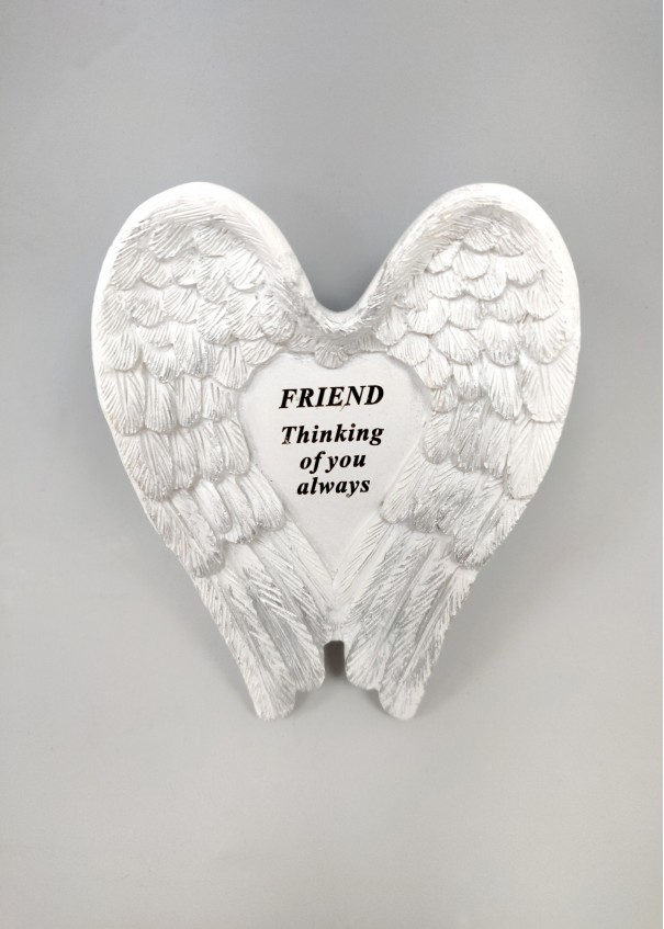Friend White and Silver Angel Wings Stone.