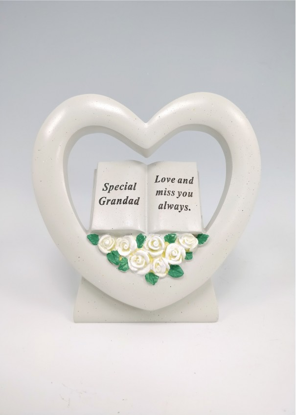 Grandad Book in Heart with White Roses.