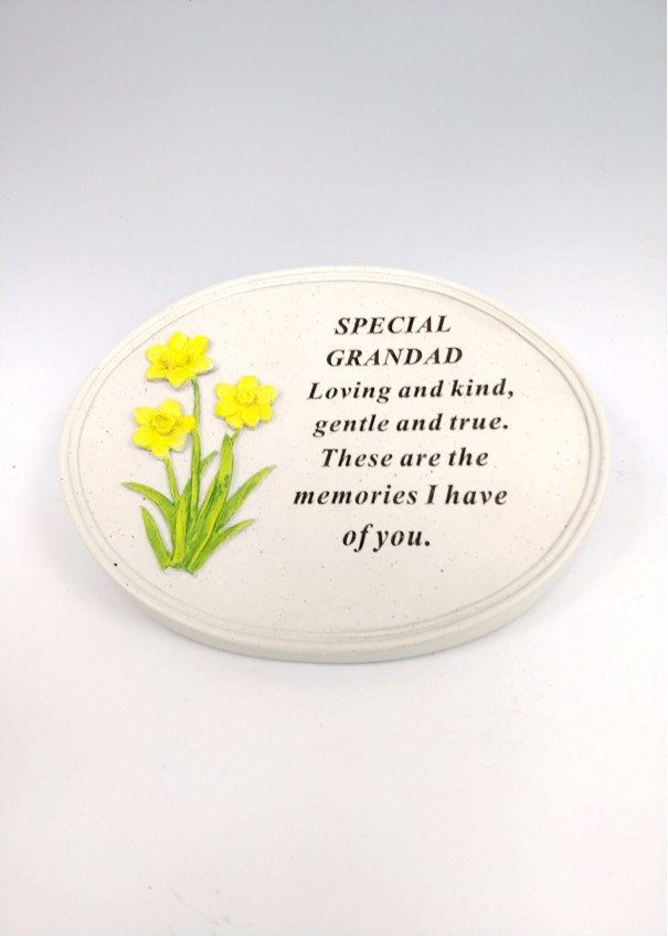 Grandad Daffodil Oval Plaque