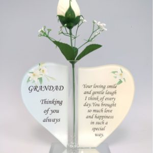 Grandad Glass Heart Plaque with Single Silk Rose