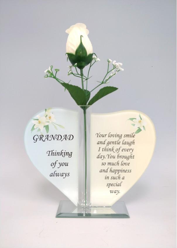Grandad Glass Heart Plaque with Single Silk Rose