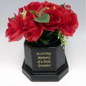 Grandad Light Up with Silk Red Rose Grave Vase. 18 LED lights. Waterproof timer.