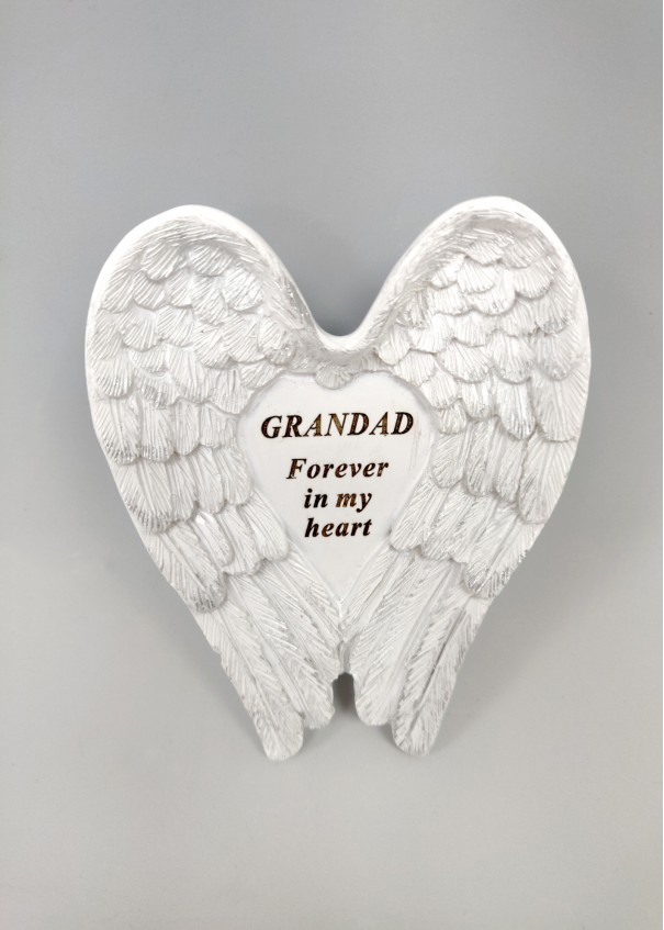 Grandad White and Silver Angel Wings Stone.