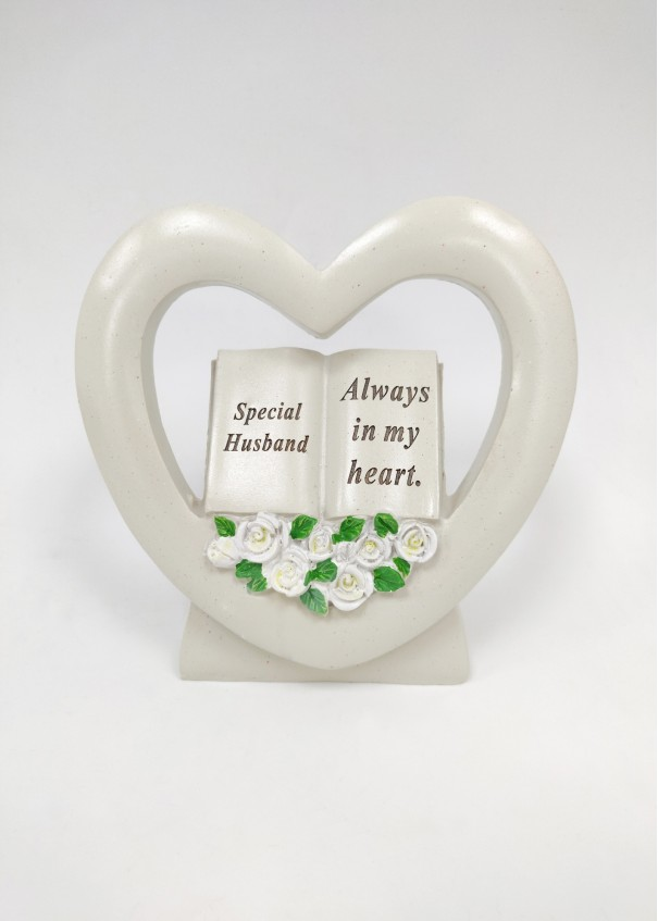 Husband Book in Heart with White Roses.