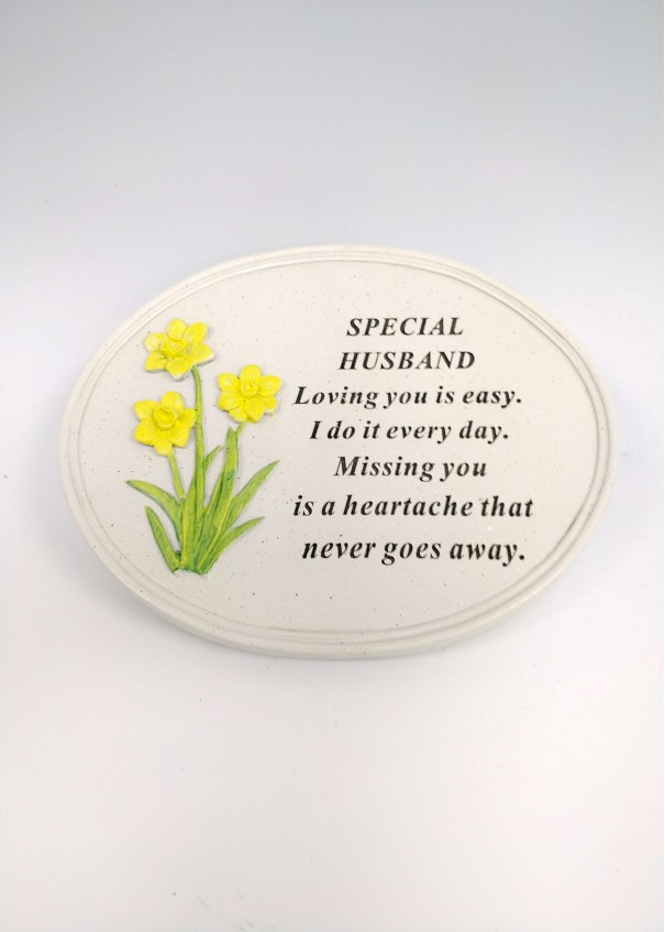 Husband Daffodil Oval Plaque