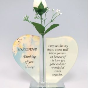 Husband Glass Heart Plaque with Single Silk Rose