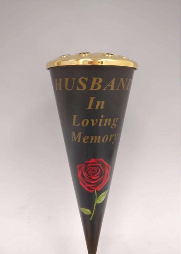Husband Red Rose Design Cone Vase with Gold Lid