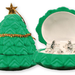 Miniature Nativity Set of 5 Figures in Christmas Tree Shaped Display Box