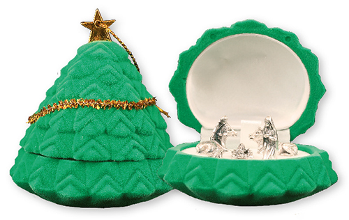 Miniature Nativity Set of 5 Figures in Christmas Tree Shaped Display Box 1
