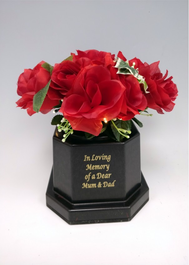 Mum & Dad Light Up with Silk Red Rose Grave Vase. 18 LED lights. Waterproof timer.