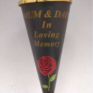 Mum & Dad Red Rose Design Cone Vase with Gold Lid