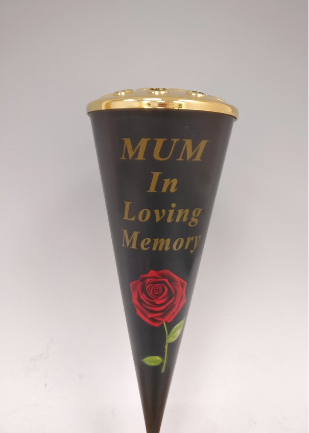 Mum Red Rose Design Cone Vase with Gold Lid