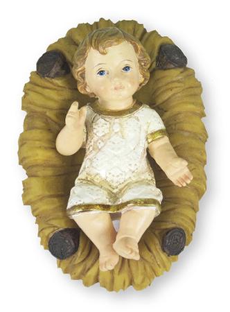 "Resin Baby Jesus & Manger 3 1/4"""