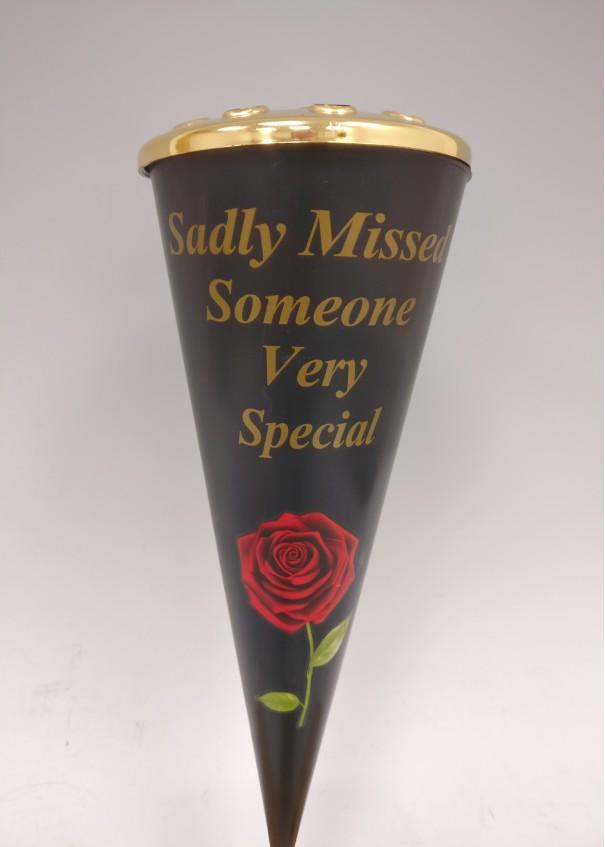Sadly Missed Red Rose Design Cone Vase with Gold Lid