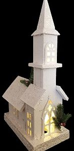 White Wooden Church with Tall Steeple and LED lights