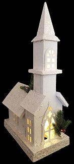 White Wooden Church with Tall Steeple and LED lights 1