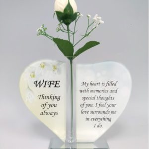 Wife Glass Heart Plaque with Single Silk Rose