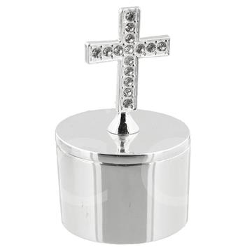 BLESS THIS CHILD SILVERPLATED CROSS TRINKET BOX