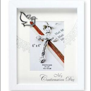 Confirmation Wooden Photo Frame - White Finish - Symbolic