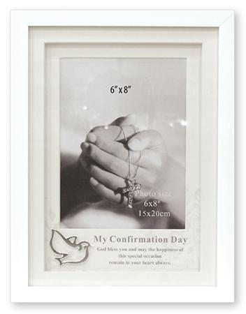 Confirmation Photo Frame - White Finish - Symbolic