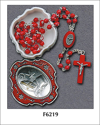 Confirmation Wood Rosary with Matching Box