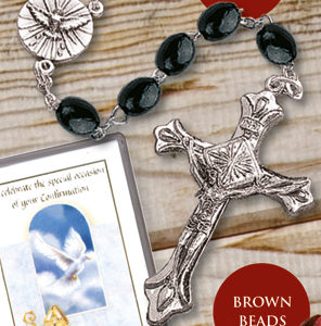 Confirmation Rosary Beads -Wooden -Black