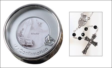Confirmation Rosary - Photo Box - Black