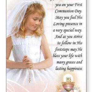 First Holy Communion Prayer Card Girl