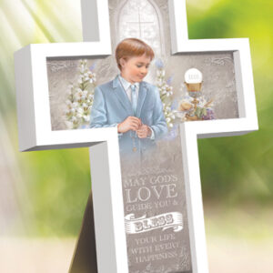 First Communion Wood Message Cross - Boy