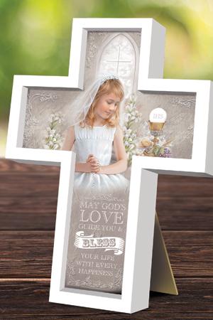 First Communion Wood Message Cross - Girl