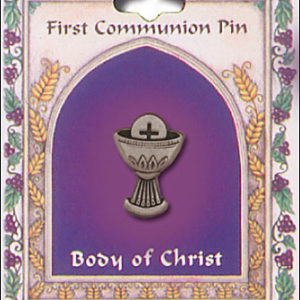 First Communion Chalice Brooch - Pewter Colour
