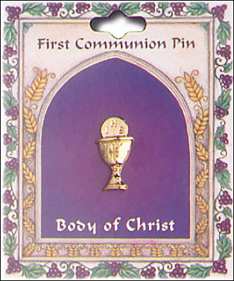 First Communion Chalice Brooch - Gold Colour