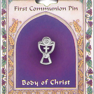 First Communion Chalice Brooch with Crystal Stones