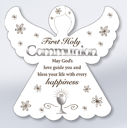 First Communion Wood Angel Plaque with Mirrored Motifs