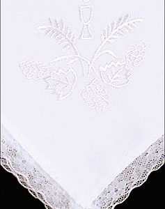 Girls White Communion Handkerchief