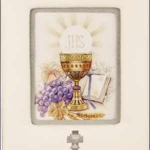 First Communion Photo Frame White Imitation Leather