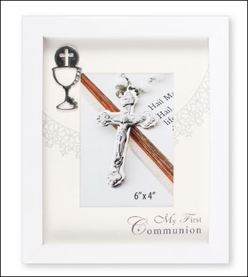 First Communion Photo Frame White Finish Symbolic
